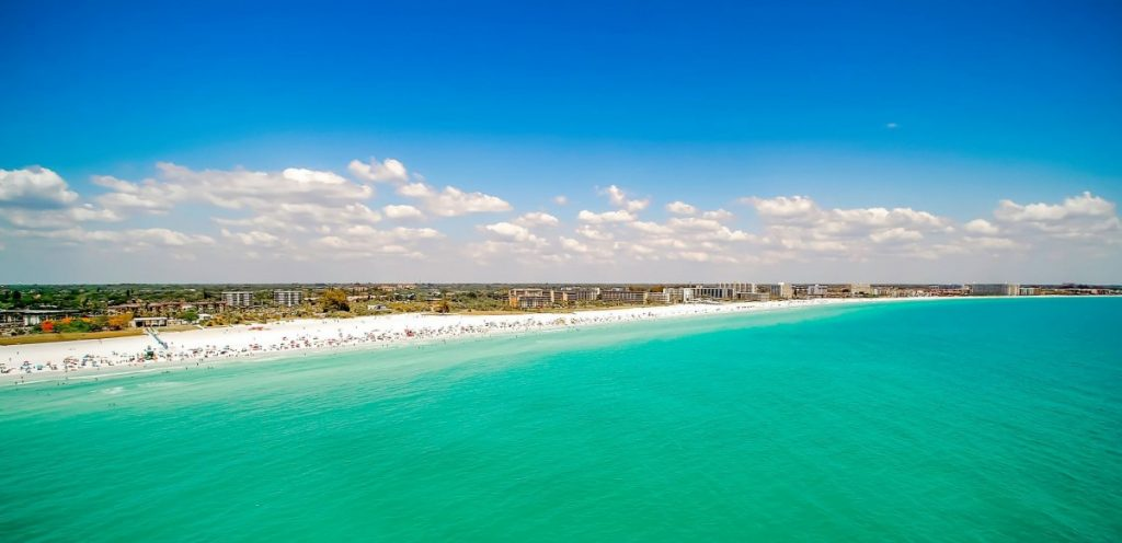 Aerial shot of Siesta Key, FL