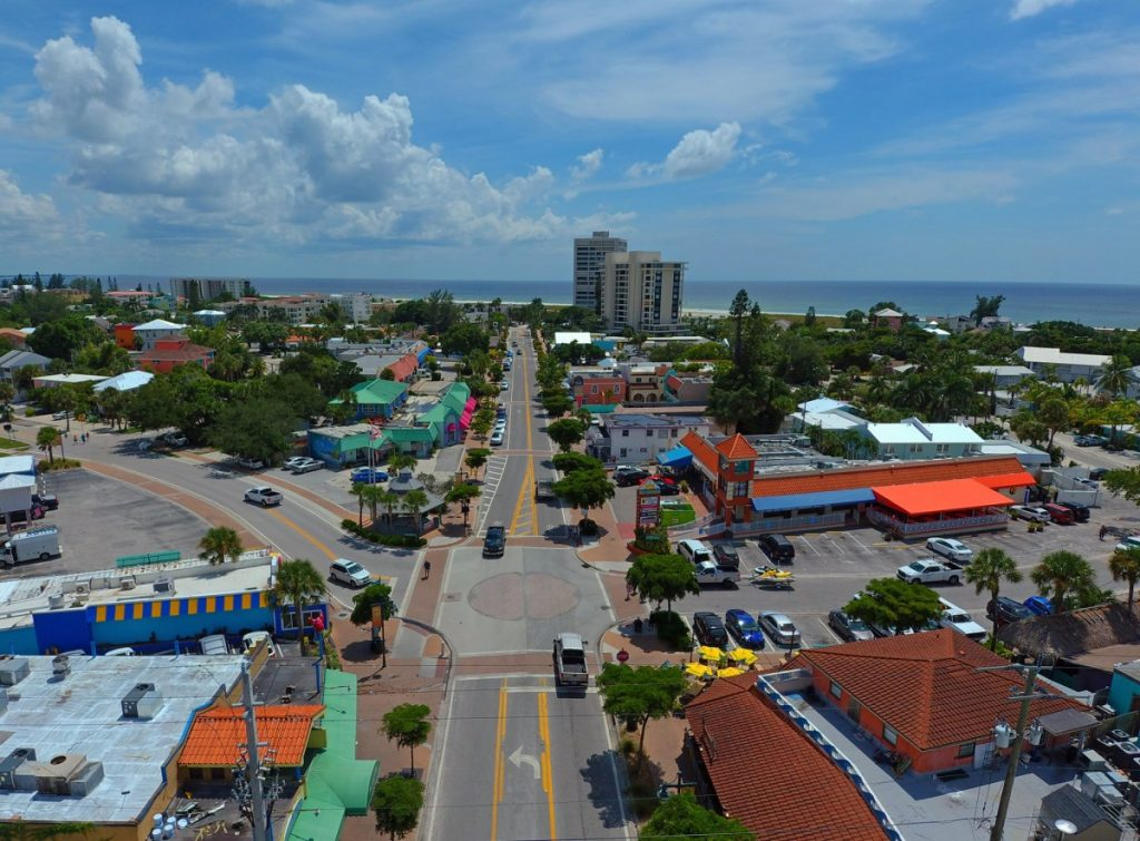 Aerial shot of Siesta Key Village