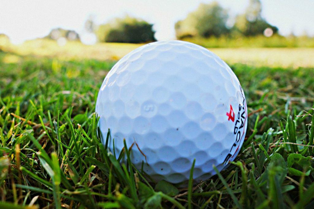 close up of golf ball