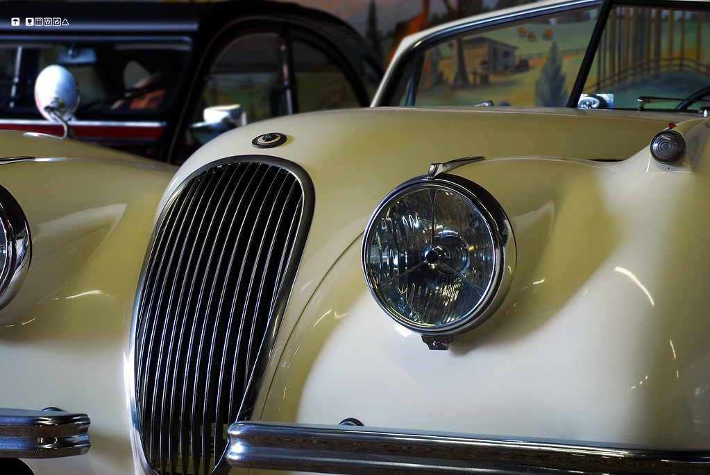 the front of a classic car